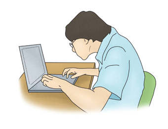Turtle neck syndrome: A male user with glasses is using a laptop, his head hunching towards the laptop screen.