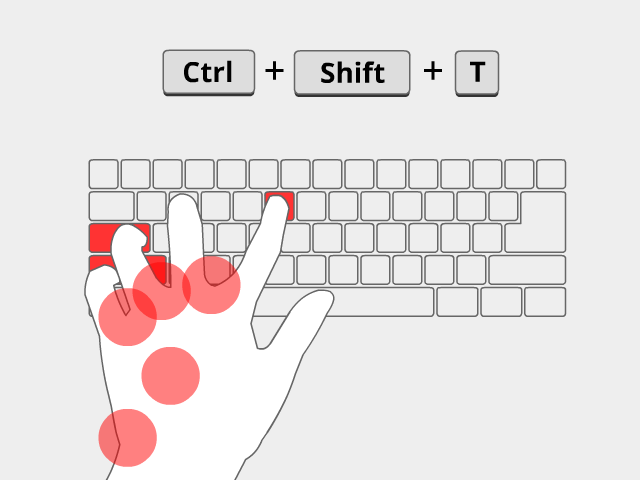 Left hand stretched to press Ctrl-Shift-T.
